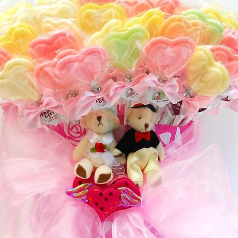 婚禮活動  愛心喜糖棒棒糖 甜蜜蜜分享60入 限時優惠
