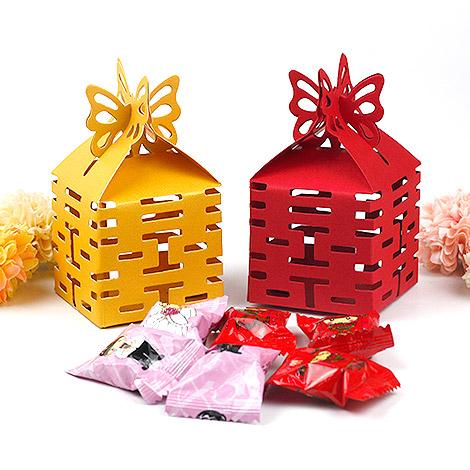 婚禮小物推薦 蝴蝶喜字喜糖盒 婚禮小物DIY
