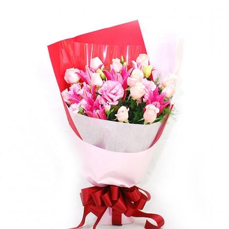 淡粉紅緞帶花束 婚禮用