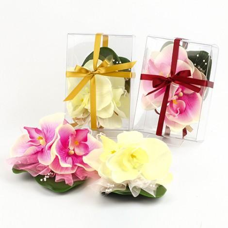 婚禮用品批發 傳統婚嫁必備 人造蝴蝶蘭胸花 雙朵