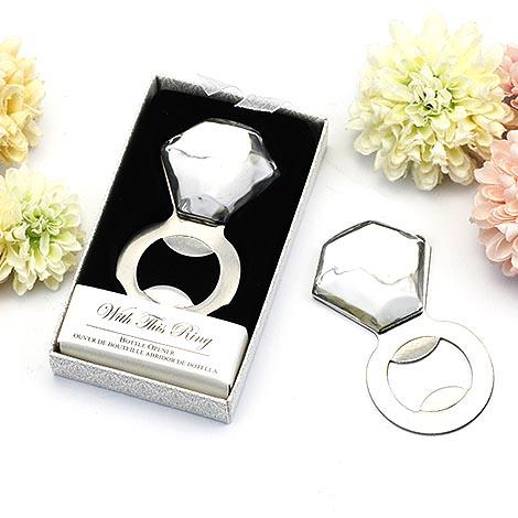 婚禮小物批發 閃亮鑽戒開瓶器 創意禮物