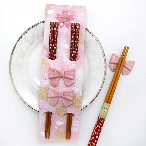 推薦伴娘禮 櫻花蝴蝶結筷架對筷組