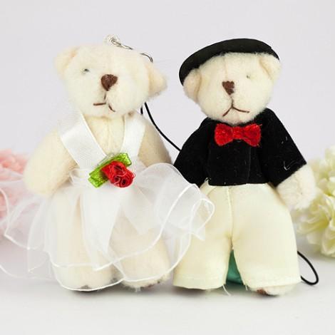 婚禮用品批發 8公分婚紗熊diy材料