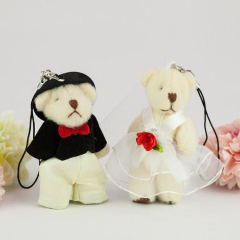 婚禮用品批發 6公分婚紗熊diy材料