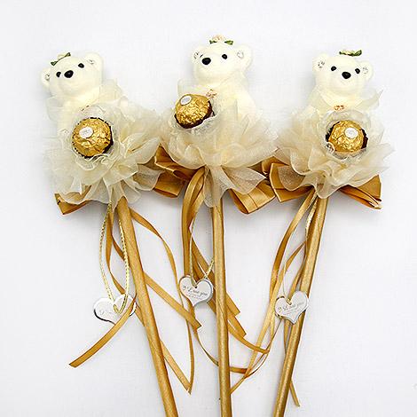 浪漫泰迪熊金莎巧克力花棒 二次進場婚禮小物