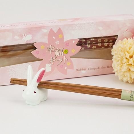 婚禮小物專賣店推薦 櫻花喜兔筷架組 姐妹禮最愛