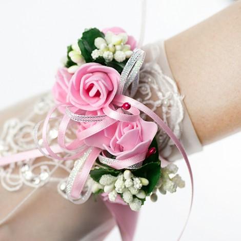 甜蜜花飾緞帶 手腕花