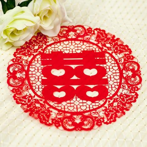 優惠回饋ing 傳統圖騰 圓形喜字 靜電貼紙 (中) 婚禮佈置