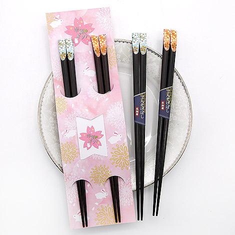 結婚禮物 櫻花喜兔對筷組 可客製化小卡