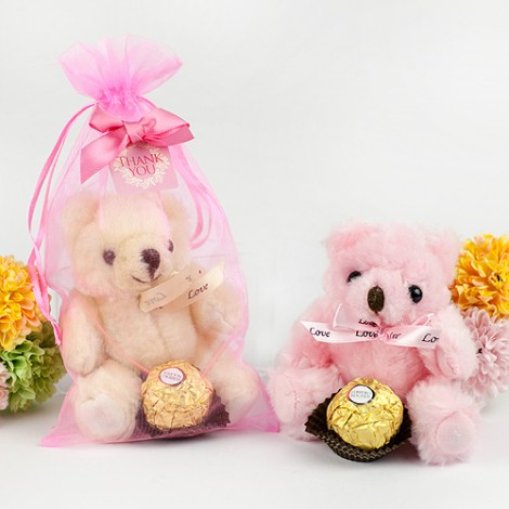 婚禮小物推薦 溫馨金莎喜糖婚禮熊 附紗袋