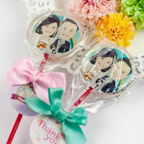 婚禮二進禮物 客製化低代糖 影像棒棒糖