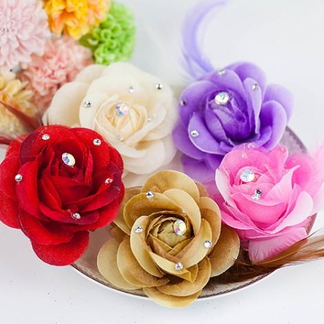 婚禮用品 玫瑰水鑽胸花/夾