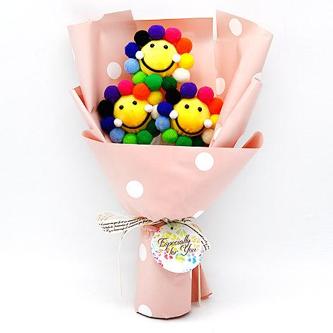 畢業創意禮品 可愛微笑花花3入花束 送提袋