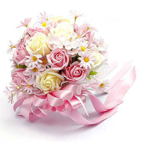 新娘拍婚紗道具好幫手 多彩玫瑰香皂花捧花