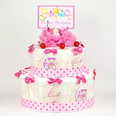 彌月禮推薦 滿月送禮 粉色甜心尿布蛋糕座