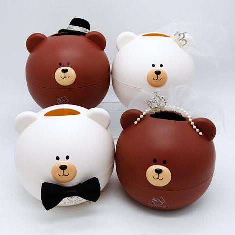 創意小物 新郎新娘熊對熊面紙盒