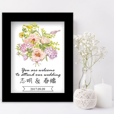 婚禮會場佈置 浪漫花束迎賓板