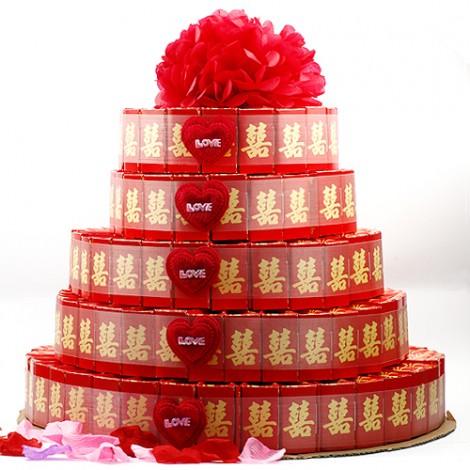 婚禮小物推薦 批發喜糖盒 五層喜糖超喜氣紅蛋糕盒 205入