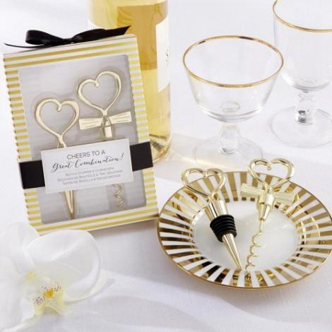 婚禮小物推薦  心型紅酒開瓶器vs.酒瓶塞 金色版 創意禮物