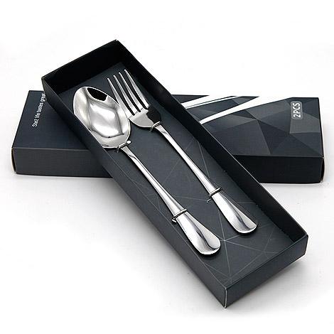 婚禮小物專賣店 時尚不鏽鋼湯匙 叉子 二件組