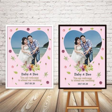 婚禮會場佈置 粉紅愛心照片迎賓板