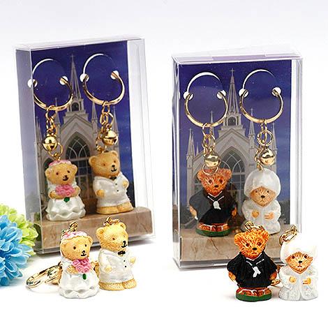 熊幸福的一對鑰匙圈 幸福婚禮小物獨家設計