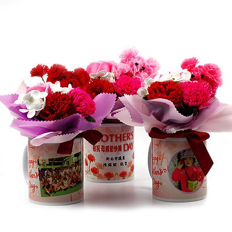 獨家母親節禮物 客製馬克杯  康乃馨香皂花束
