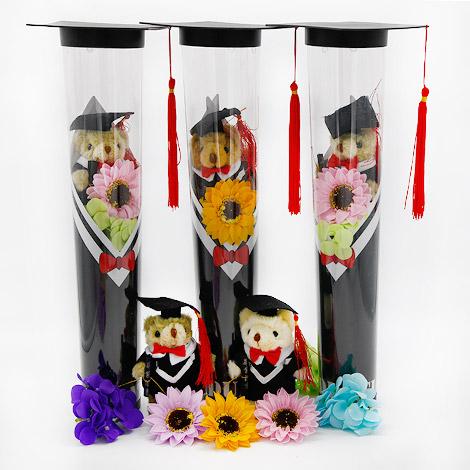 畢業禮物 畢業熊向日葵香皂花束