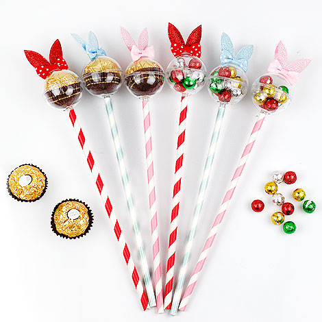 創意婚禮喜糖 甜心兔造型金莎 巧克力糖果棒