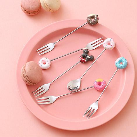 結婚禮物送什麼 卡通甜甜圈湯匙叉子 304不鏽鋼