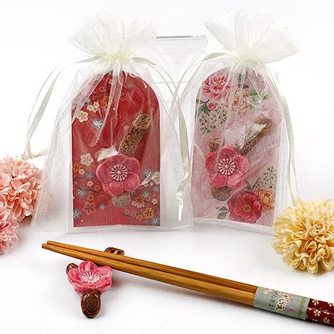 結婚禮物推薦 梅花筷架送紗袋 結婚小物