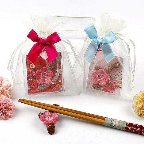 結婚準備禮物 梅花筷架PVC盒裝 送蝴蝶結紗袋