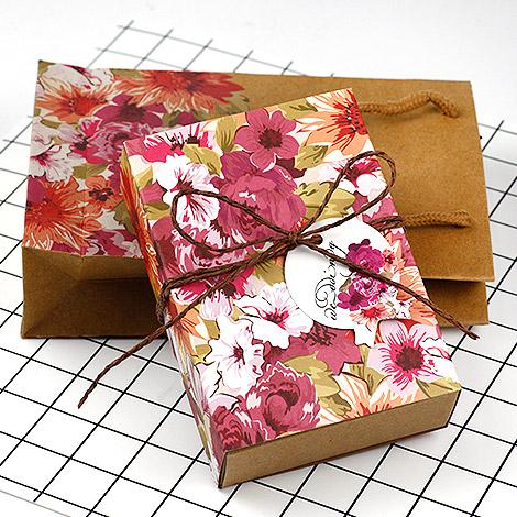 禮物盒子 DIY材料 牛皮紙花朵禮物盒+提袋組合 禮物包裝好選擇