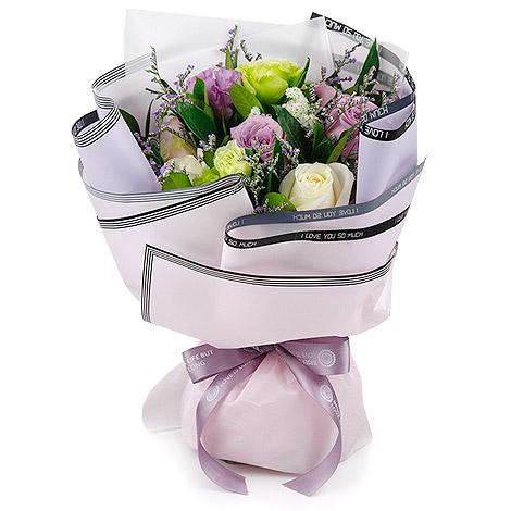 情人節要送什麼 韓風紫玫瑰花束 求婚告白花束