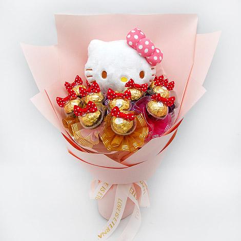 禮物專賣店推薦 幸福萌兔金莎花束 巧克力花束