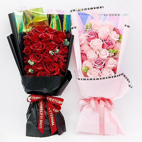 玫瑰花香皂花束 冷美人21朵玫瑰香皂花禮盒