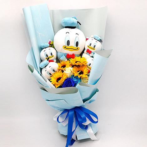 台北禮物專賣店推薦 唐老鴨向日葵玩偶花束
