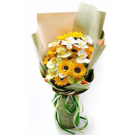 父親節 向日葵蝴蝶蘭香皂花束