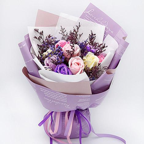 新發售 乾燥花搭玫瑰香皂花束