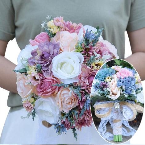 新娘捧花 歐式宮廷仿真玫瑰手捧花