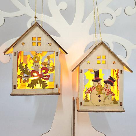 聖誕節禮物 木質小屋聖誕掛飾