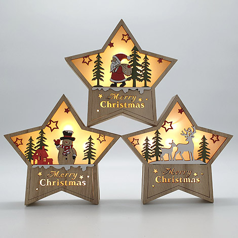 聖誕節交換禮物 木質星星聖誕飾品