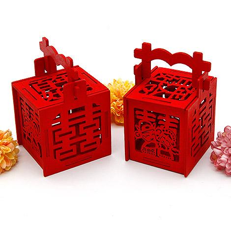 創意積木喜糖盒 DIY鴛鴦雙囍木質囍糖盒