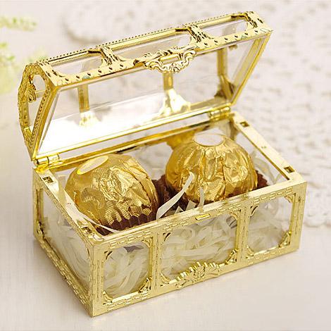 會場佈置 金色寶藏盒喜糖盒 桌上賓客禮