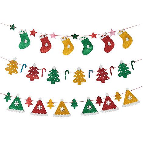 耶誕布置 聖誕拉旗(金蔥泡綿款)