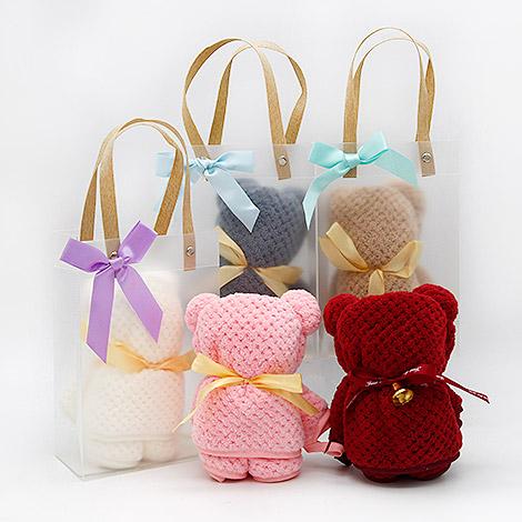 送客小禮 珊瑚絨小熊條紋毛巾 禮贈品