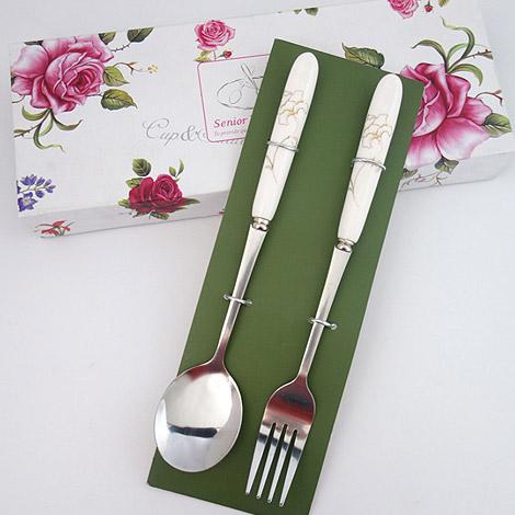 結婚禮物 花卉陶瓷柄不銹鋼勺叉 最愛禮贈品