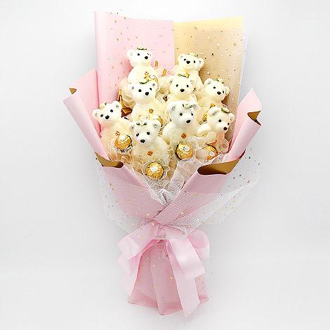 禮物專賣店送花 小熊金莎巧克力花束