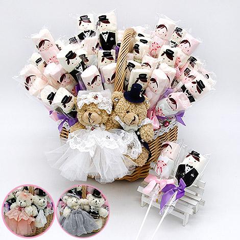 婚禮二進小禮物 結婚小熊棉花糖提籃