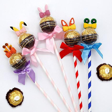 創意婚禮喜糖 可愛動物金莎巧克力糖果棒